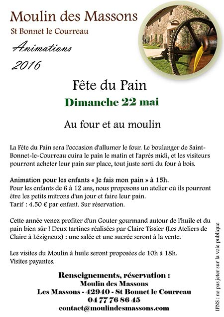 Fête du pain Moulin des Massons 22 mai 2016